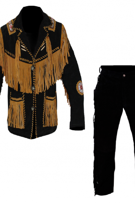 New Men's Native American Buckskin Black Suede Leather Jacket & Pant WS341