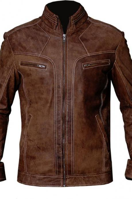 QASTAN Handmade New Men's Distress Brown Zippers Distress Hand waxed Leather Jacket / Coat BDJ05